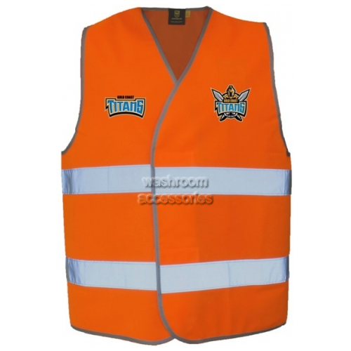 View Vest with Reflective Tape Orange details.
