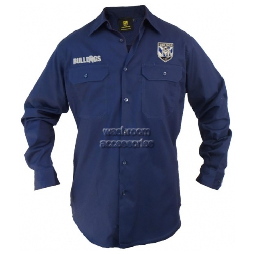 View Long Sleeve Work Shirt Navy details.