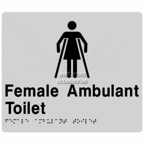View FAT Female Ambulant Toilet Sign with Braille details.