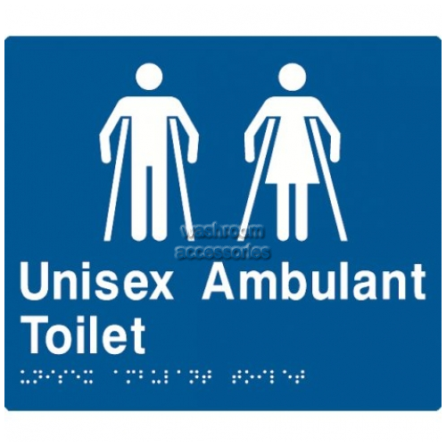 View MFAT Unisex Ambulant Toilet Sign with Braille details.