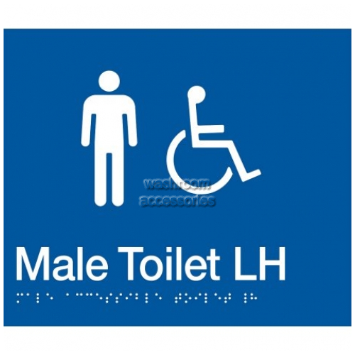 View MDTLH Male Accessible Toilet Sign Left Hand with Braille details.