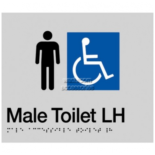 View MDTLH Male Accessible Toilet Left Hand Sign with Braille details.