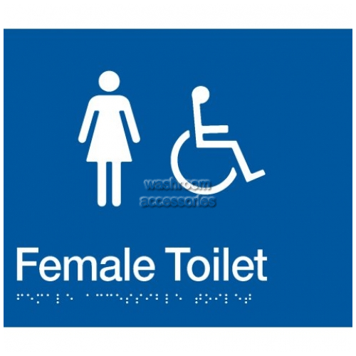 View FDT Female Accessible Toilet Sign with Braille details.