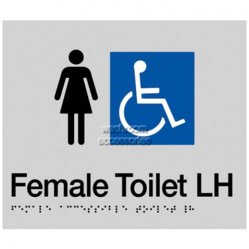 View FDTLH Female Accessible toilet Left Hand Sign Braille details.
