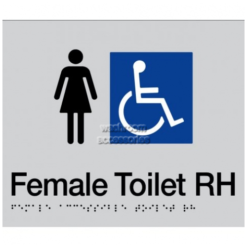 View FDTRH Female Accessible Toilet Right Hand Sign Braille details.