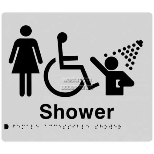 View FDS Female Accessible Shower Sign with Braille details.