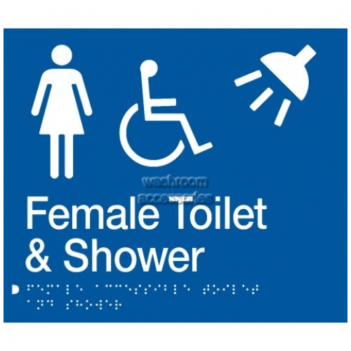 View FDTS Female Accessible Toilet and Shower Sign with Braille details.