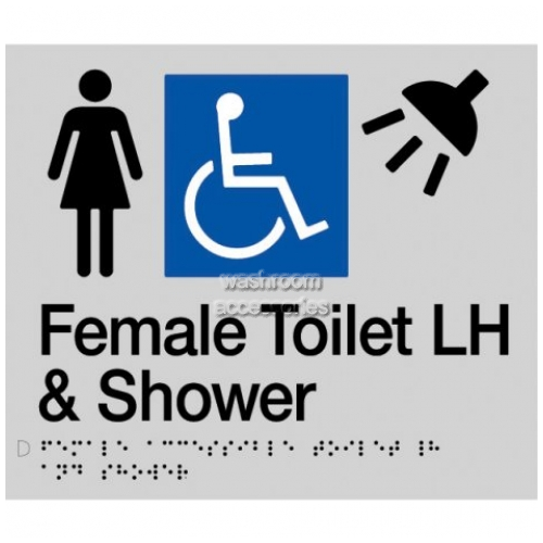 View FDTSLH Female Accessible Toilet Left Hand and Shower Sign Braille details.
