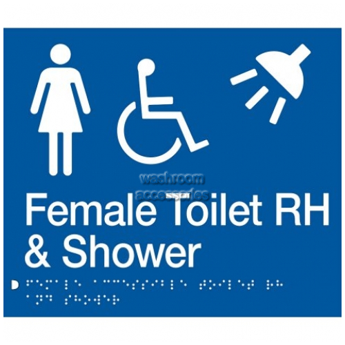 View FDTSRH Female Accessible Toilet Right Hand and Shower Sign Braille details.