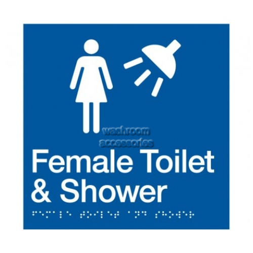View FTS Female Toilet and Shower Sign with Braille details.