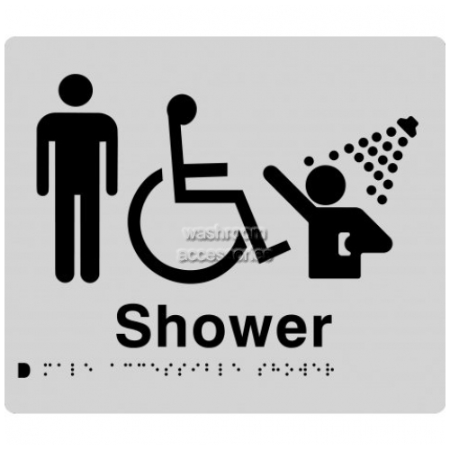 View MDS Male Accessible Shower Sign with Braille details.
