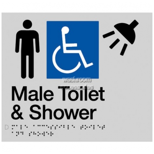 View MDTS Male Accessible Toilet and Shower Sign with Braille details.