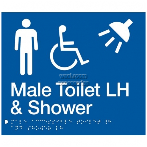 View MDTSLH Male Accessible Toilet Left Hand and Shower Sign Braille details.