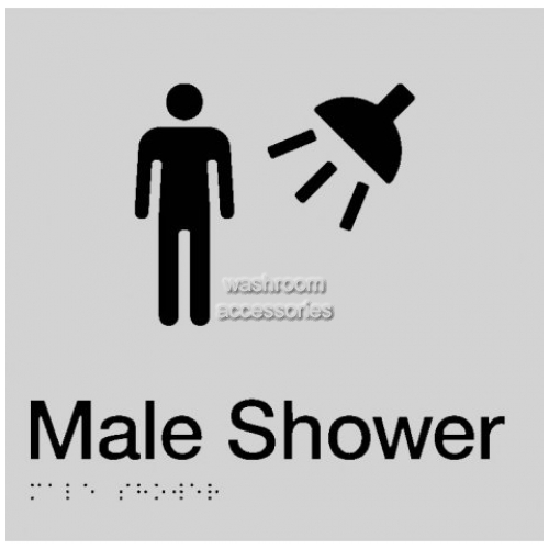 View MS Male Shower Sign with Braille details.