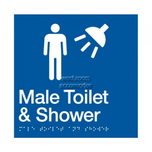 View MTS Male Toilet and Shower Sign with Braille details.