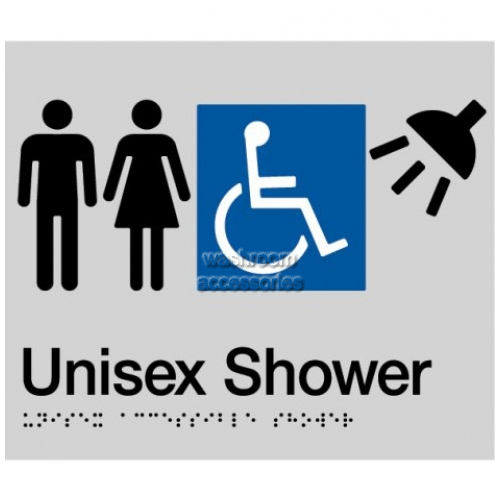 View MFDS Unisex Accessible Shower Sign with Braille details.