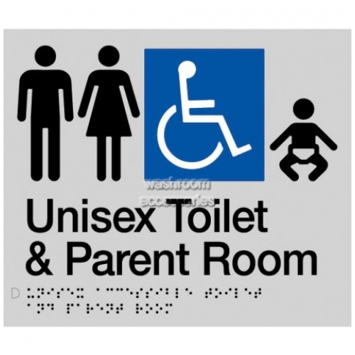 View MFDTP Unisex Accessible Toilet and Parent Room Sign Braille details.
