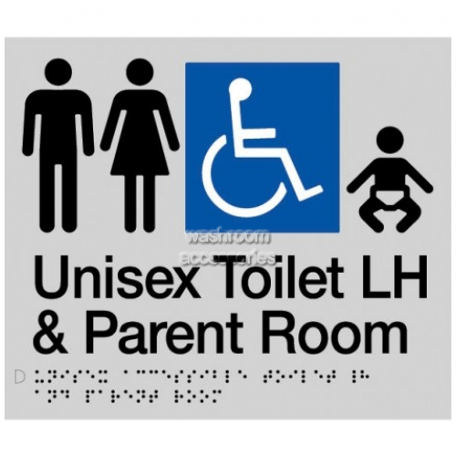 View MFDTPLH Unisex Accessible Toilet Left Hand and Parent Room Sign Braille details.