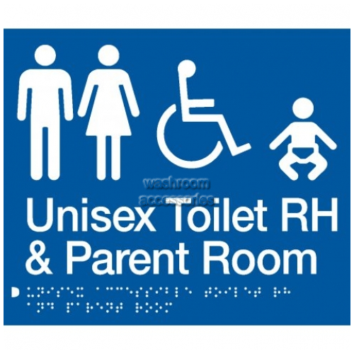 View MFDTPRH Unisex Accessible Toilet Right Hand and Parent Room Sign Braille details.