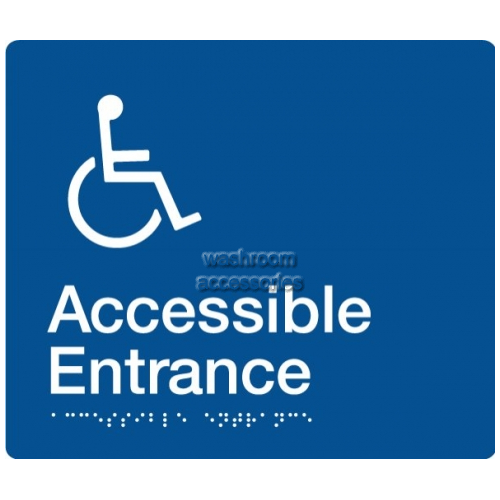 View AE Accessible Entrance Sign with Braille details.