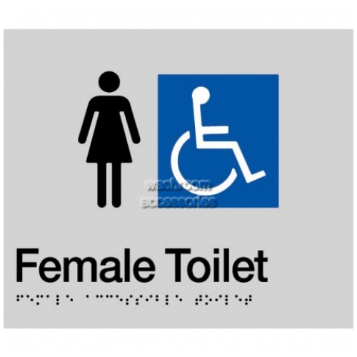View FDT-SILVER Female Accessible Toilet Sign details.