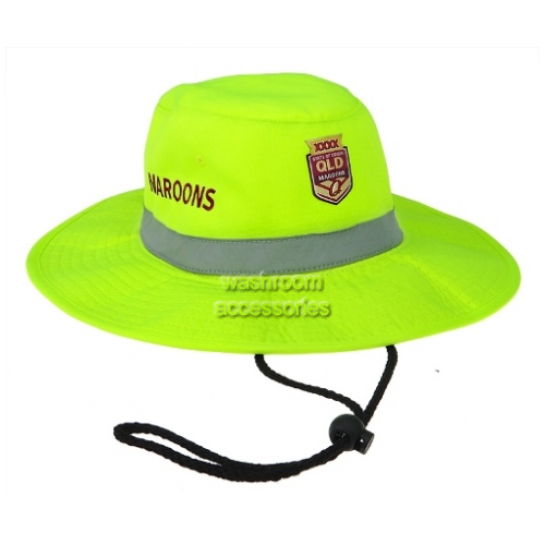 View QLD Maroons Hi-Vis Wide Brim Hat with Tape Yellow details.
