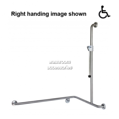 View GCS34 Shower Grab Rail with Slider and Handle, 1000 x 760 x 1100mm details.