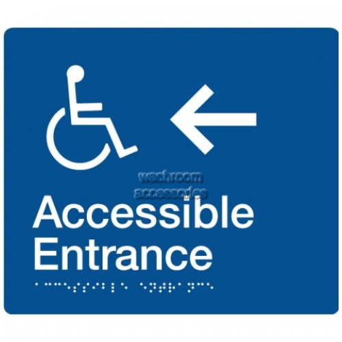 View AE-LEFT Accessible Entrance Sign with Left Hand Arrow Braille details.