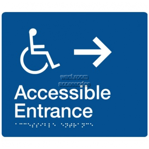 View AE-RIGHT Accessible Entrance Sign with Right Hand Arrow Braille details.