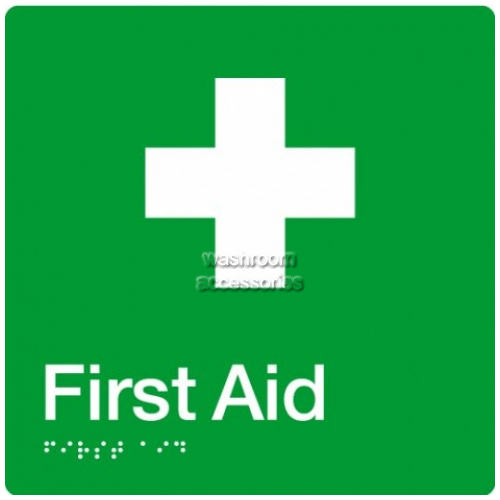 View FA First Aid Sign with Braille details.