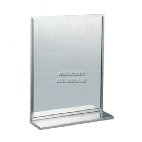 View ML770 Glass Mirror with Stainless Steel Frame and Shelf details.
