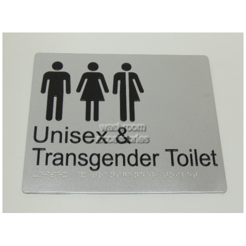 View Transgender Unisex Toilet Sign with Braille details.