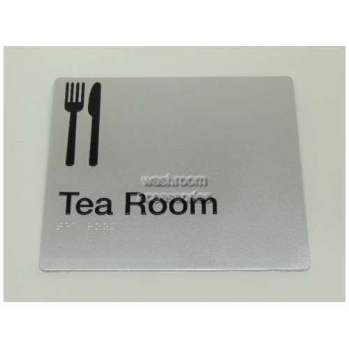 View Tea Room Sign with Braille details.