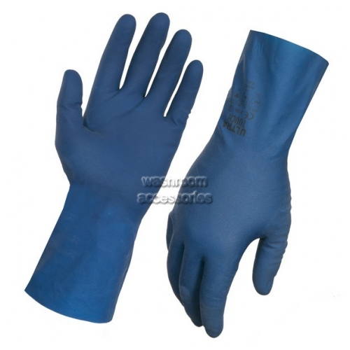 View Rubber Gloves 443003 Blue Slick Lined 30cm details.