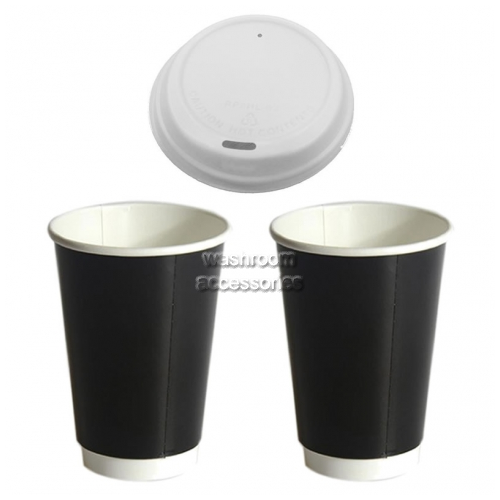 View 8oz Disposable Coffee Cup and Lids Pack details.