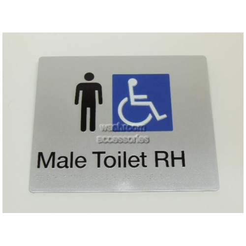 View MDTRH Male Accessible Toilet Sign Right Hand with Braille details.