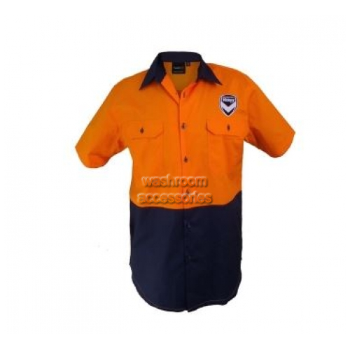 View Hi-Vis Short Sleeve Button Shirt Orange details.