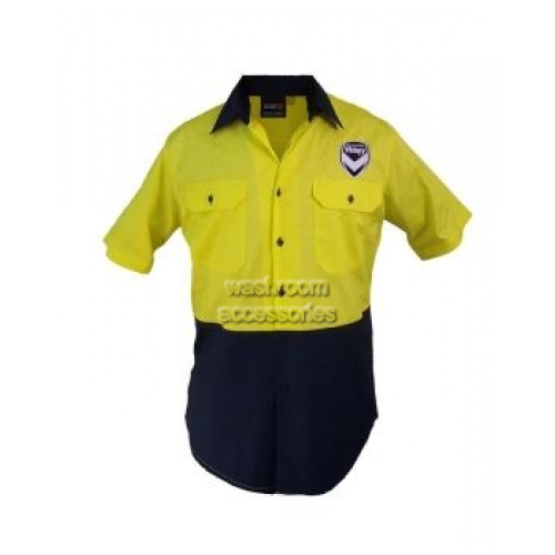 View Hi-Vis Short Sleeve Button Shirt Yellow details.