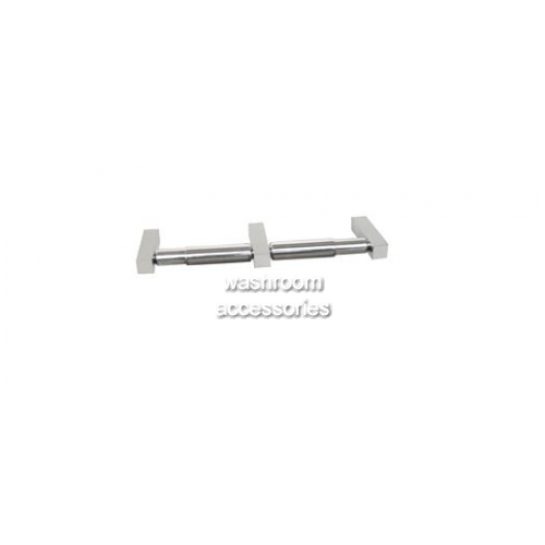 View ML6049 Double Toilet Roll Holder Square Mounting details.