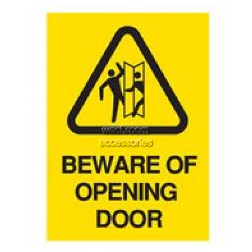 View A4 Safety Sign - Beware Of Opening Door details.