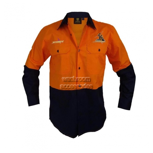 View Hi-Vis Long Sleeve Button Shirt Orange details.