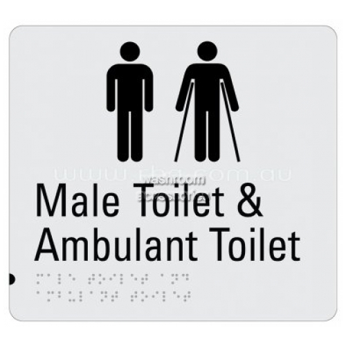 View Braille Sign RBA4330-829 Male Toilet and Ambulant Toilet Sign details.