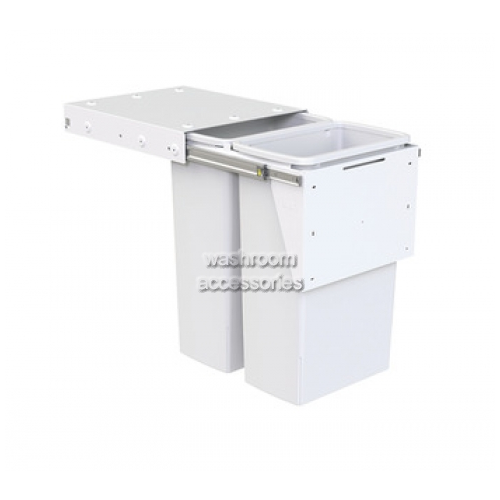 View 2 x 40 Litre Pull-out Bin, Top or Side Mounting details.