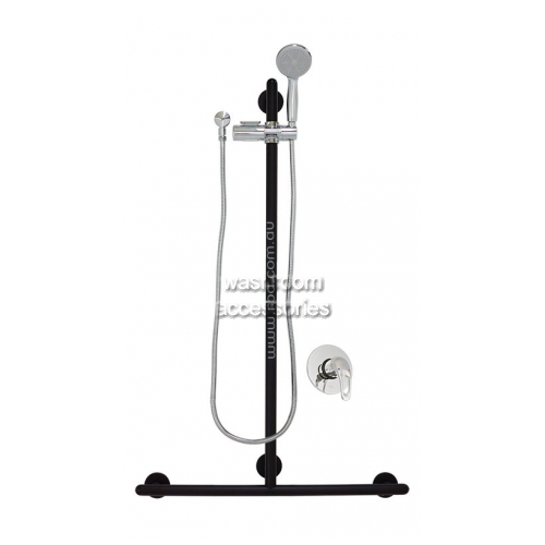 View Shower Set, T Grab Rail with Handset, Slider and Mixer details.