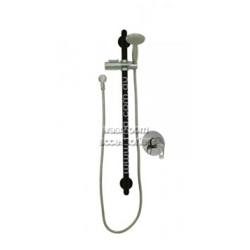 View Shower Rail Set, Straight Grab Rail with Handset, Slider and Mixer details.