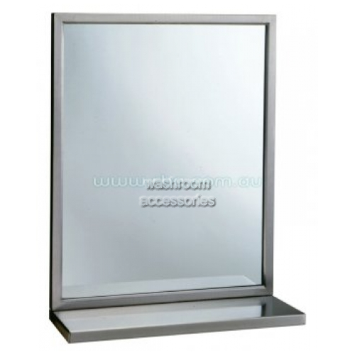 View B292 Glass Mirror with Shelf, Bevel Frame details.