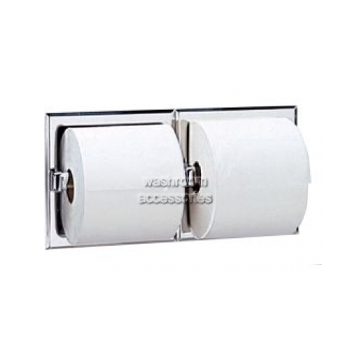 View B697 Double Toilet Roll Holder Recessed No Hoods details.