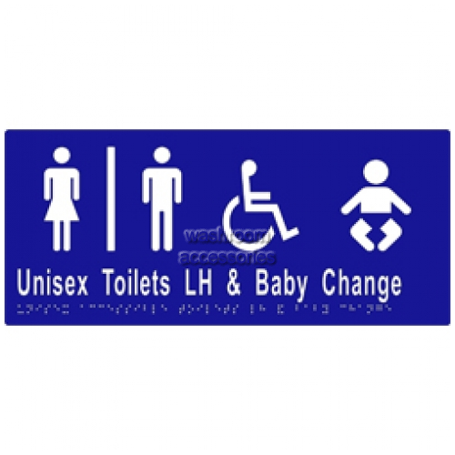 View ML16283 Braille Sign, Unisex Accessible Toilets Divided LH and Baby Change details.