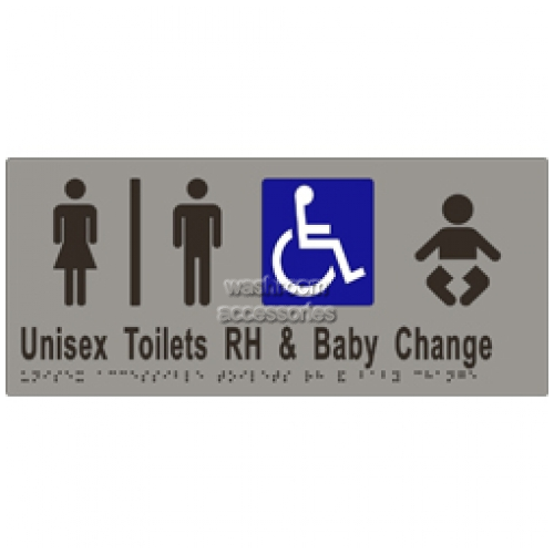View ML16284 Braille Sign, Unisex Accessible Toilets Divided RH and Baby Change details.