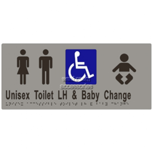 View ML16285 Braille Sign, Unisex Accessible Toilets LH and Baby Change details.